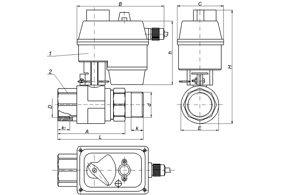 Кран с электроприводом JES KD размеры